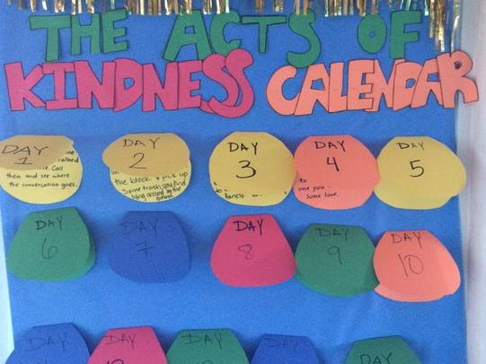 6th. Grade's Acts of Kindness Calendar
